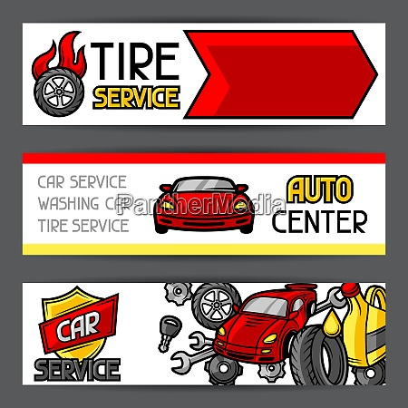 car repair banners design with service