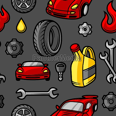 car repair seamless pattern with service