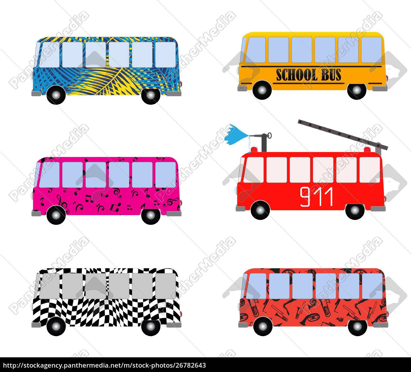 set, of, painted, cartoon, buses, for - 26782643