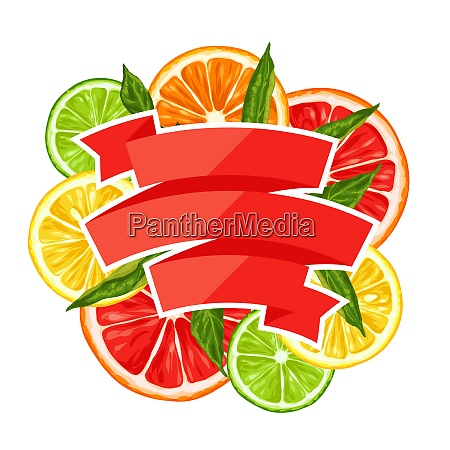 background with citrus fruits slices mix