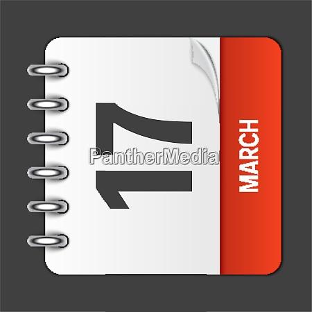march 17 calendar daily icon vector