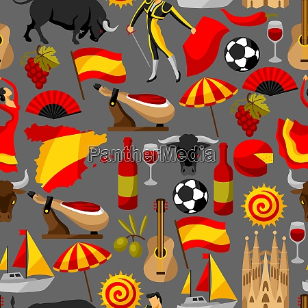 spain seamless pattern spanish traditional symbols