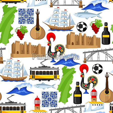 portugal seamless pattern portuguese national traditional