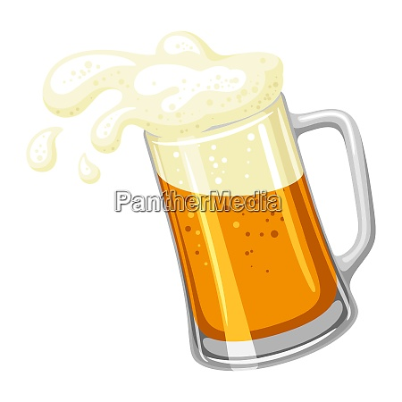 mug with light beer and froth