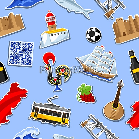 portugal seamless pattern with stickers portuguese