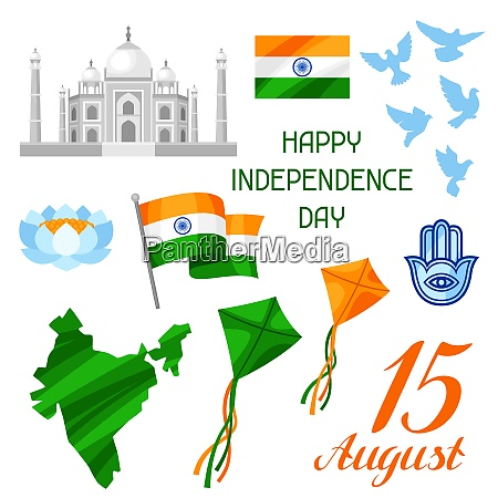 india independence day set of objects