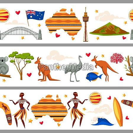 australia seamless borders australian traditional symbols