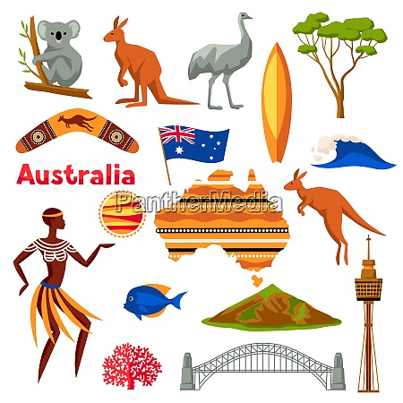 australia icons set australian traditional symbols