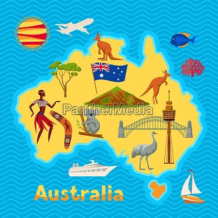 australia map design australian traditional symbols