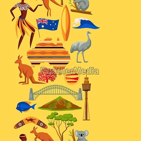 australia seamless pattern australian traditional symbols
