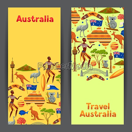 australia banners design australian traditional symbols