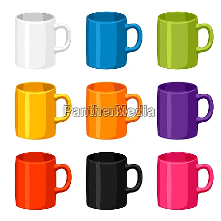 colored, mugs, templates., set, of, promotional - 26784300