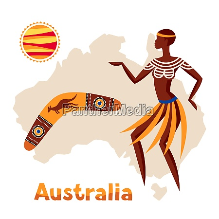 illustration of australia map with woman