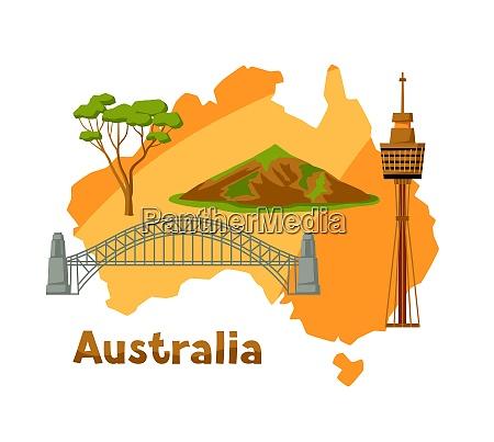 illustration of australia map with tourist