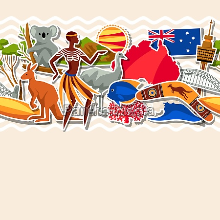 australia seamless pattern australian traditional sticker