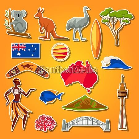 australia icons set australian traditional sticker