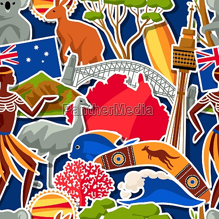 australia seamless pattern australian traditional sticker