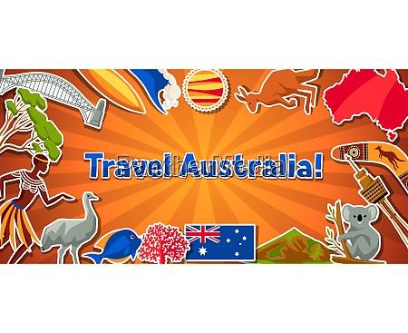 australia banner design australian traditional sticker