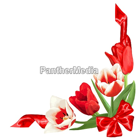 decorative element with red and white