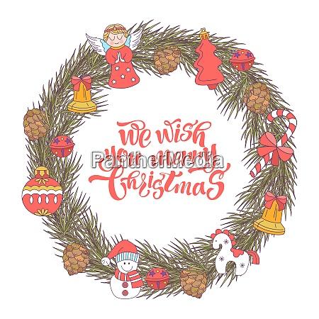 merry christmas vector christmas card fir
