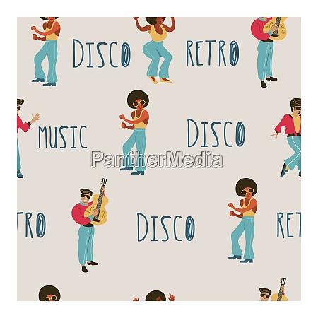 seamless pattern retro party retro musicians