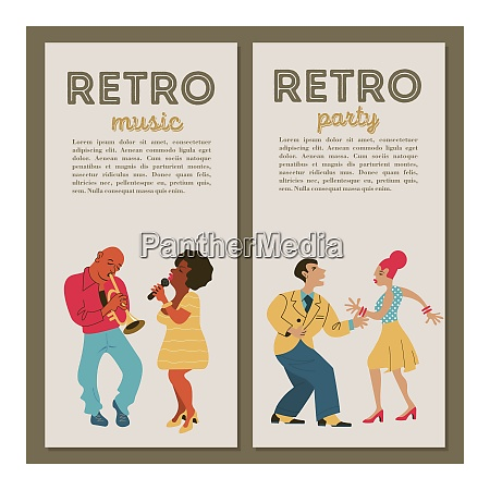 retro party jazz musicians playing trumpet