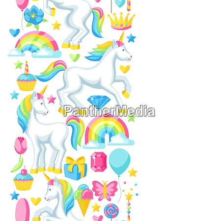 seamless pattern with unicorns and fantasy