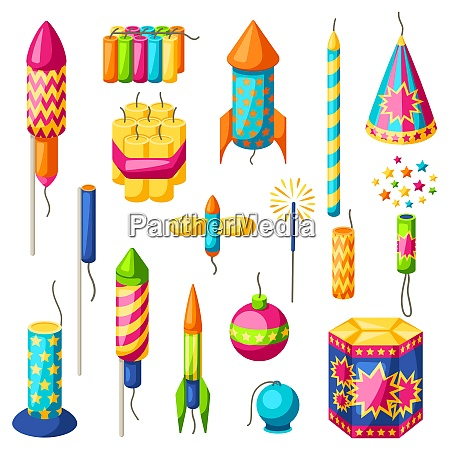 set of colorful fireworks different types