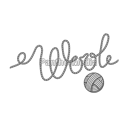 wool emblem with with ball of