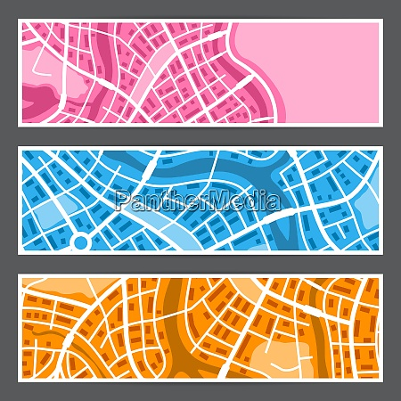 abstract city map banners abstract city