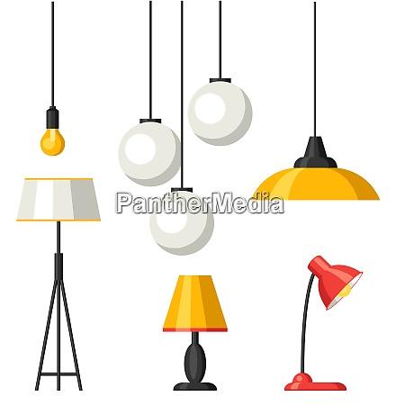 set of lamps furniture chandelier floor