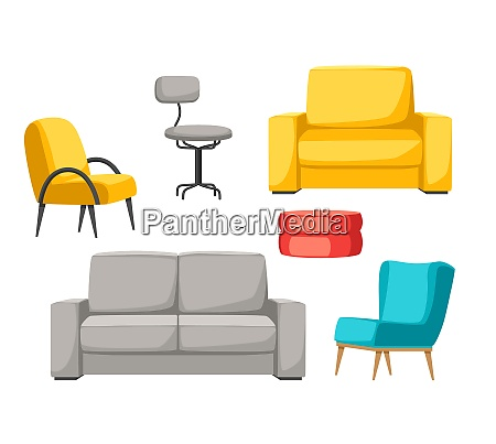 interior and furniture set sofa armchair