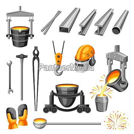 metallurgical symbols set industrial items and