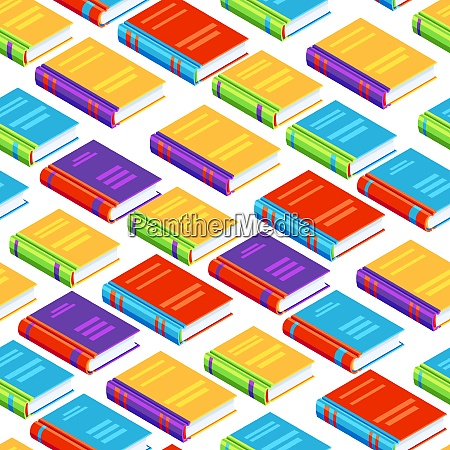 seamless pattern with isometric books seamless