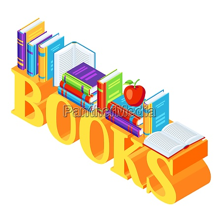 isometric word with books isometric word