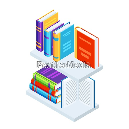 isometric books on bookshelves isometric books