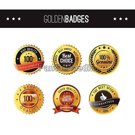 quality golden badge label set