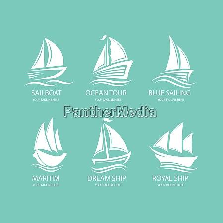 sail boat ship logo sail boat
