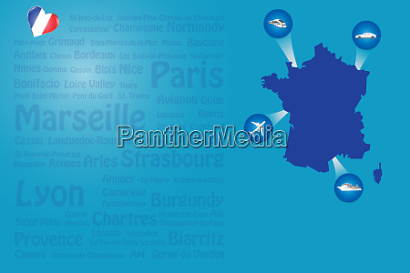 travel france landmarks names template vector