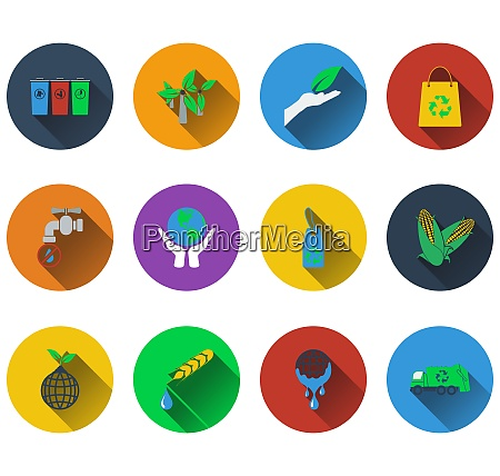 set of ecological icons in flat