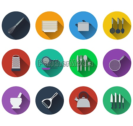 set of kitchen utensil icons in