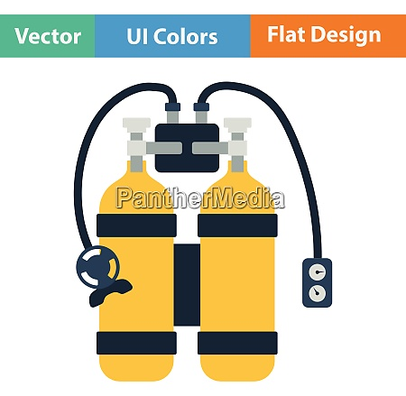 flat design icon of scuba flat