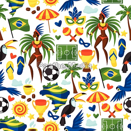 brazil seamless pattern with stylized objects