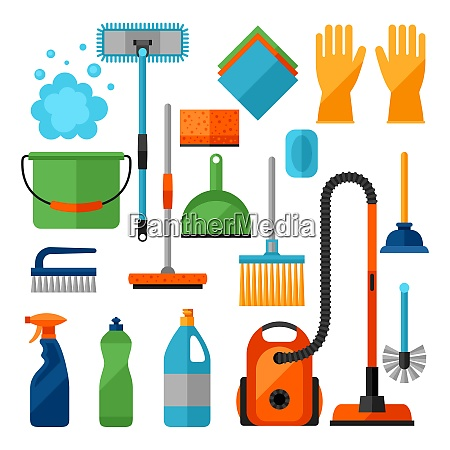 housekeeping cleaning icons set image can