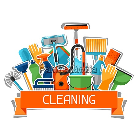 housekeeping background with cleaning sticker icons