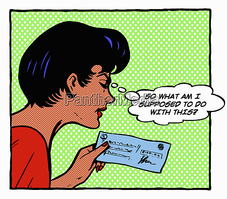 woman puzzled by cheque