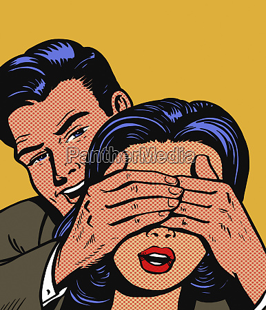 man covering womans eyes for surprise