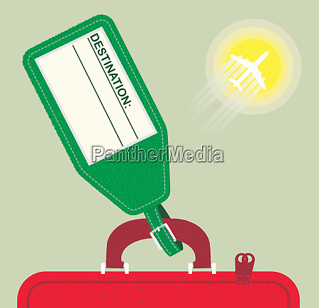 blank holiday luggage label and air