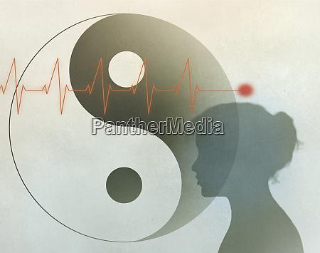 heartbeat yin yang symbol and womans