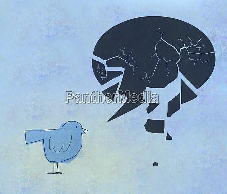 bird tweeting with broken speech bubble
